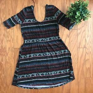 Cotton On Scoop Neck Pattern Black Swing Dress